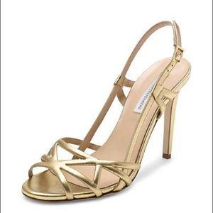 DVF Upton Strappy Heels-Gold
